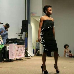 New Joyce Black Strapless Frill Bandeau Dress